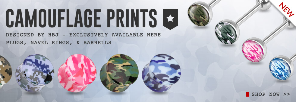 Camouflage Printed Plugs Navel Rings and Barbells